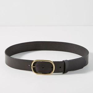 Anthropologie Black Leather Mabel BELT NWT L
